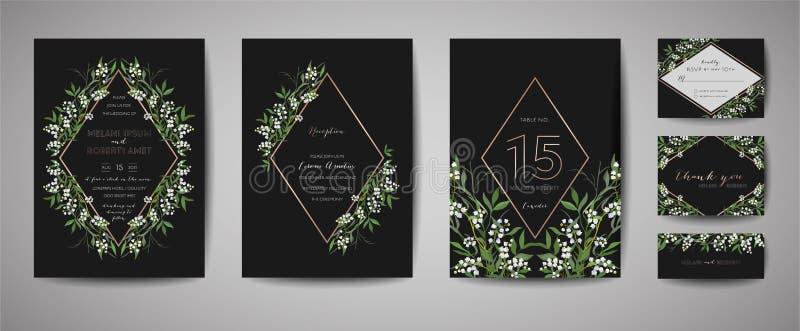 Luxusblumen-Weinlese-Hochzeit sparen das Datum, Einladungs-Blumenkarten-Sammlung mit Goldfolien-Rahmen Modische Abdeckung des Vek lizenzfreie abbildung