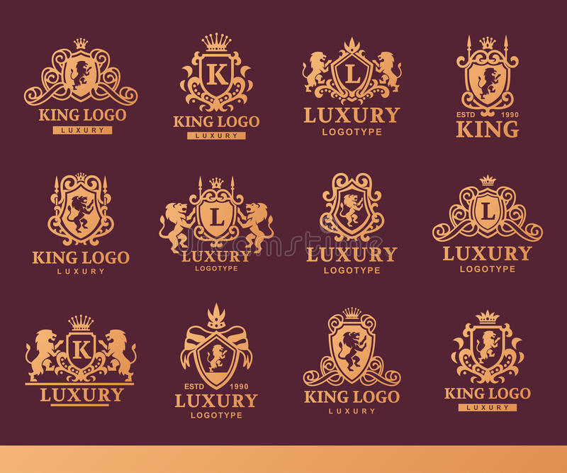 Luxusboutique königliche Weinleseproduktwappenkundelogosammlungs-Markenidentitäts-Vektorillustration der Kammhohen qualität lizenzfreie abbildung