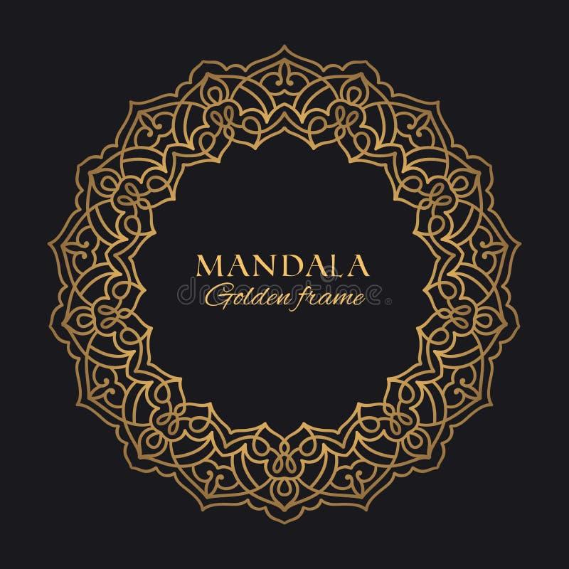 Luxusdesign der ethnischen Verzierung Goldenes dekoratives grafisches Element auf schwarzem Hintergrund vektor abbildung