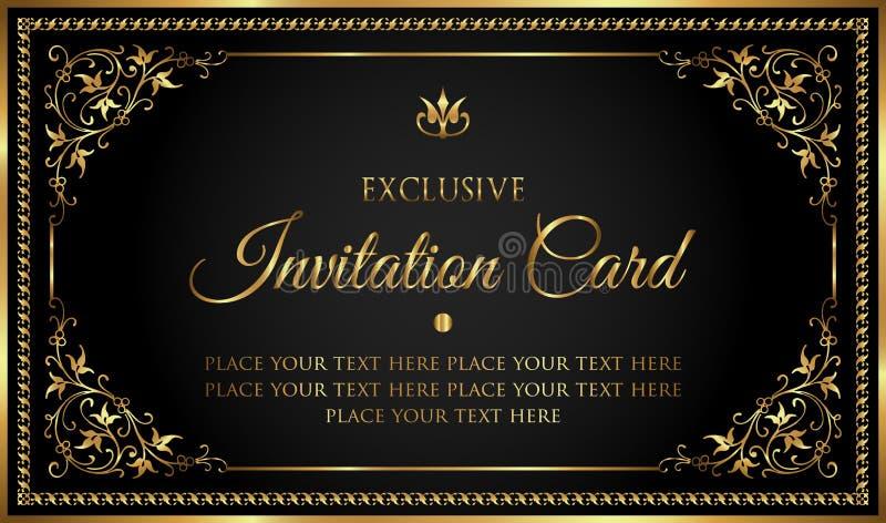 Luxuseinladungskarte im Weinleseschwarzen und in der Goldart stock abbildung