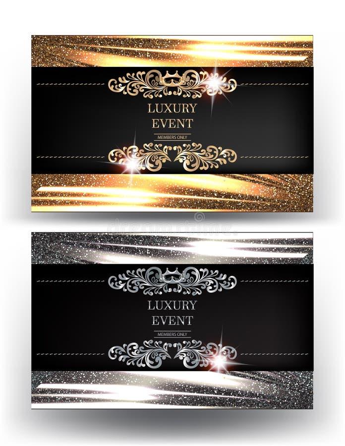 Luxusereigniseinladungskarten mit funkelndem gefaltetem Gewebe auf den Hintergrund- und Weinleseblumenmusterelementen vektor abbildung