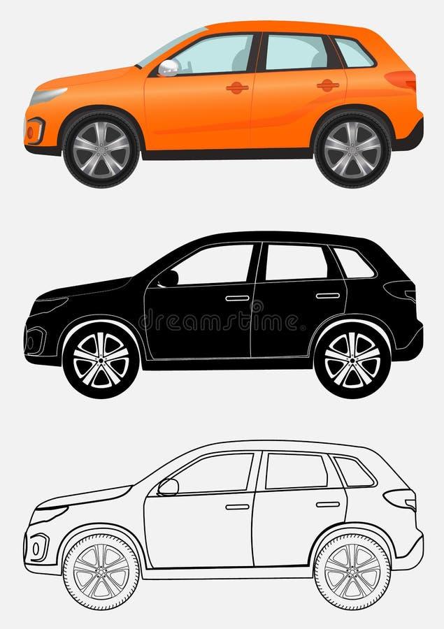 Luxusfahrzeug nicht für den Straßenverkehr in drei verschiedenen Arten: orange, schwarzes Schattenbild, Kontur lizenzfreie abbildung