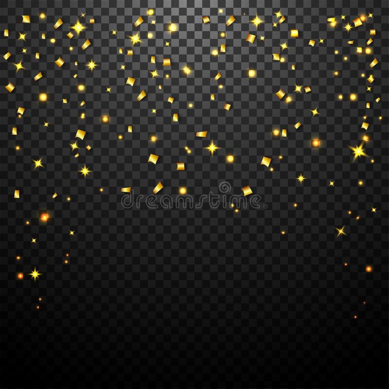 Luxusfeierhintergrund mit fallenden Stücken metallischem Goldfunkeln und -Konfettis lizenzfreie abbildung