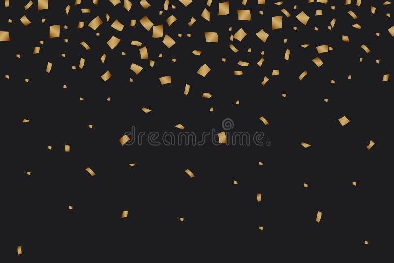 Luxusfestliches der goldenen Konfettis auf schwarzem Hintergrund lizenzfreie abbildung