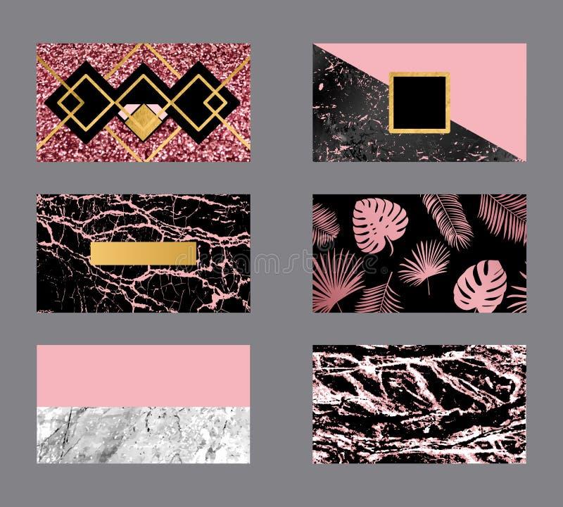 Luxusgeschäft stieg Goldkarte mit Marmorbeschaffenheit und geometrischer Linien- und Goldenerhintergrundvektorschablone vektor abbildung