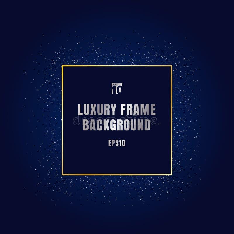Luxusgoldquadratrahmen mit strukturiertem Dekorationsentwurf des glänzenden goldenen Funkelns auf dunkelblauem Hintergrund Festli lizenzfreie abbildung