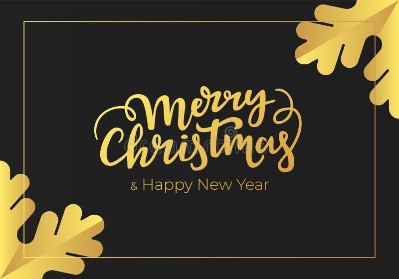 Luxusgrußkarte für Weihnachten und neues Jahr Winterurlaubpostkartenentwurf in der modernen noir Art gemacht vom erstklassigen sc lizenzfreie abbildung