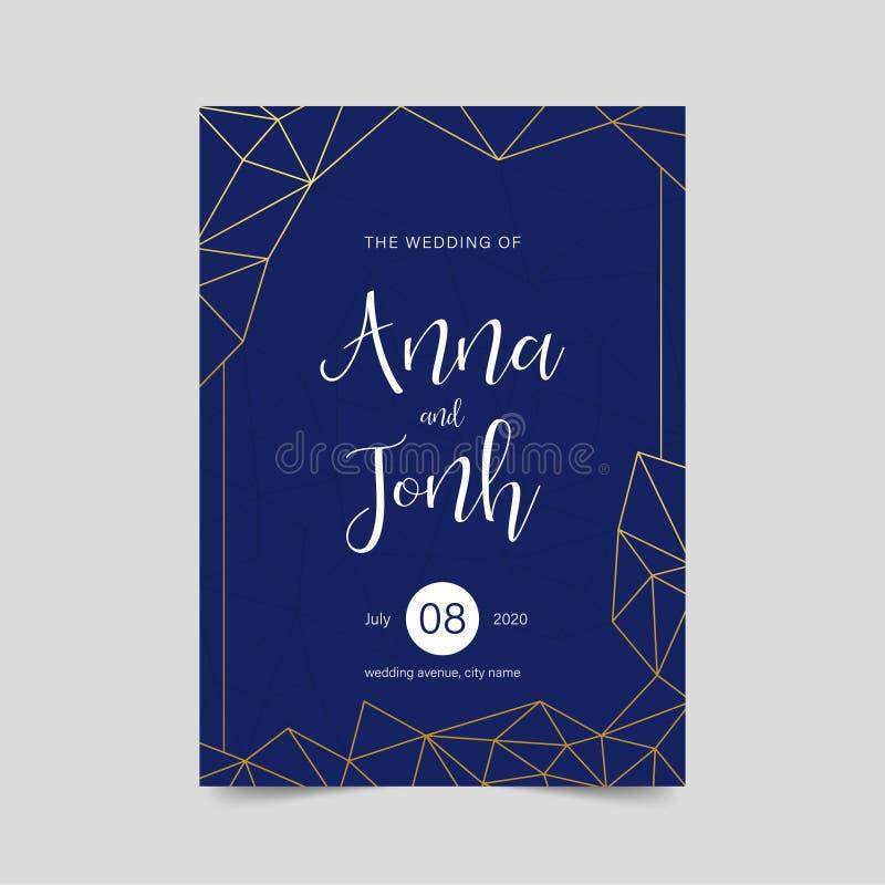 Luxusheiratseinladung, eleganter geometrischer Karte Entwurf, goldener blauer Vektor des Hintergrundes ENV 10 lizenzfreie stockbilder