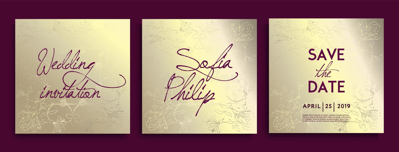 Luxusheiratseinladungskarten mit Golddekorativem Blumen- und Kräutern Stellen Sie von der Karte mit Goldblume, Blätter ein lizenzfreie abbildung