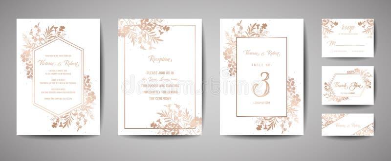Luxushochzeits-Abwehr das Datum, Einladungs-Marine-Karten-Sammlung mit modischer Abdeckung der Goldfolien-Blumen und der Blätter  vektor abbildung