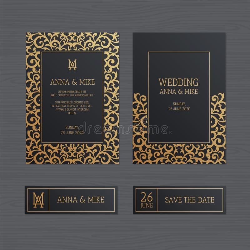 Luxushochzeitseinladungs- oder -grußkarte mit Weinlesegold Orn vektor abbildung