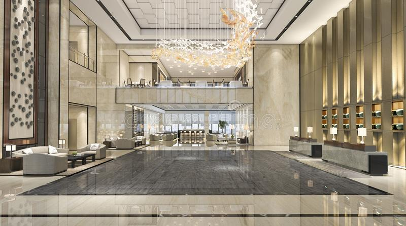 Luxushotel-Aufnahmehalle der Wiedergabe 3d und Aufenthaltsraumrestaurant lizenzfreie abbildung