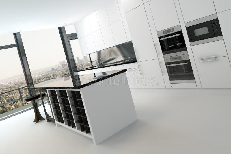 Luxuskücheninnenraum in der Reinweißfarbe stock abbildung