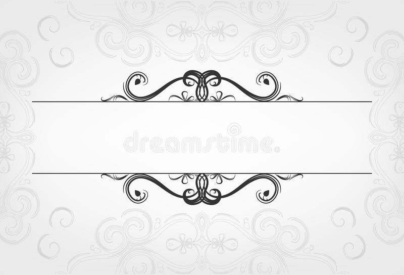 Luxuskarten mit kalligraphischen Elementen und Raum für Text mit Maschenhintergrund stock abbildung