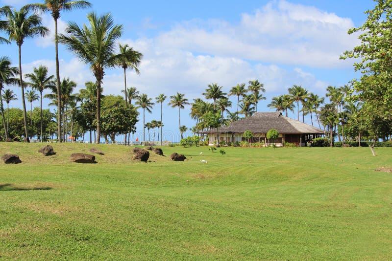 Luxuslandhaus auf Ufergegend, Guadeloupe lizenzfreie stockbilder