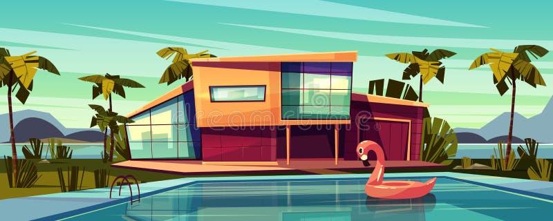 Luxuslandhaus mit Swimmingpool-Karikaturvektor lizenzfreie abbildung