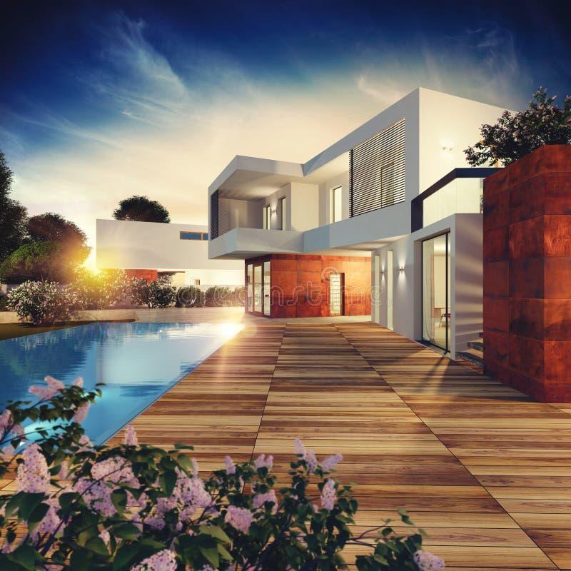 Luxuslandhausprojekt Wiedergabe 3d stock abbildung