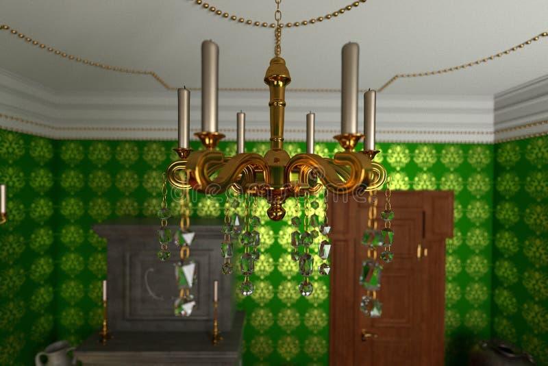 Luxuslandsitzinnenraum - Leuchter stock abbildung