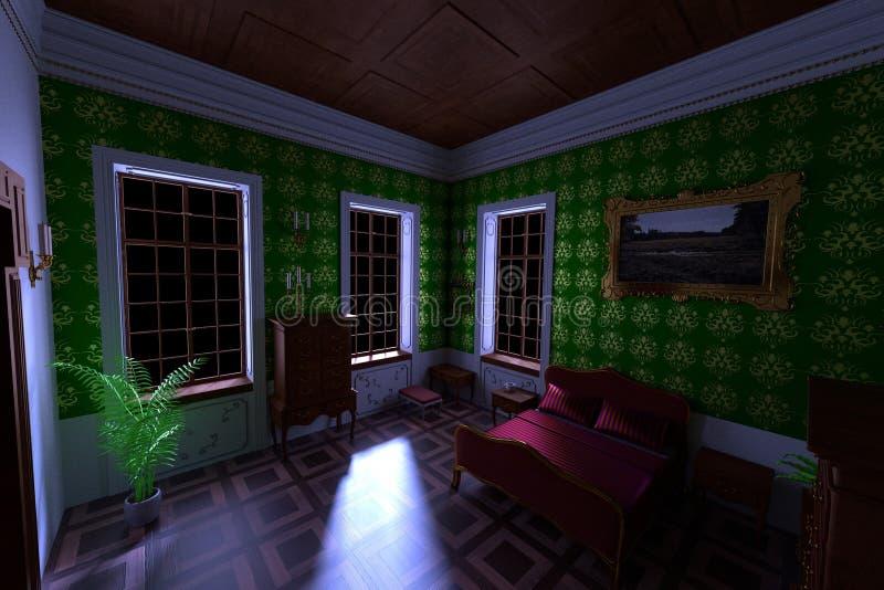 Luxuslandsitzinnenraum - Schlafzimmer stock abbildung