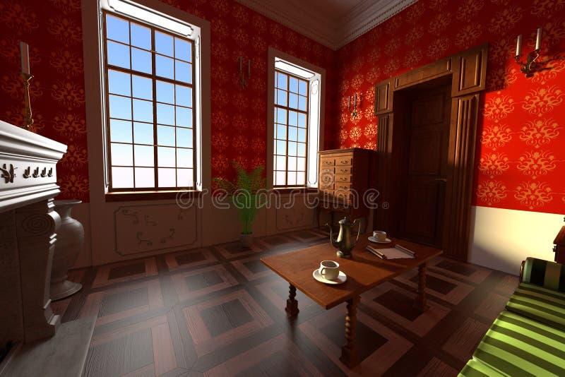 Luxuslandsitzinnenraum - Wohnzimmer lizenzfreie abbildung