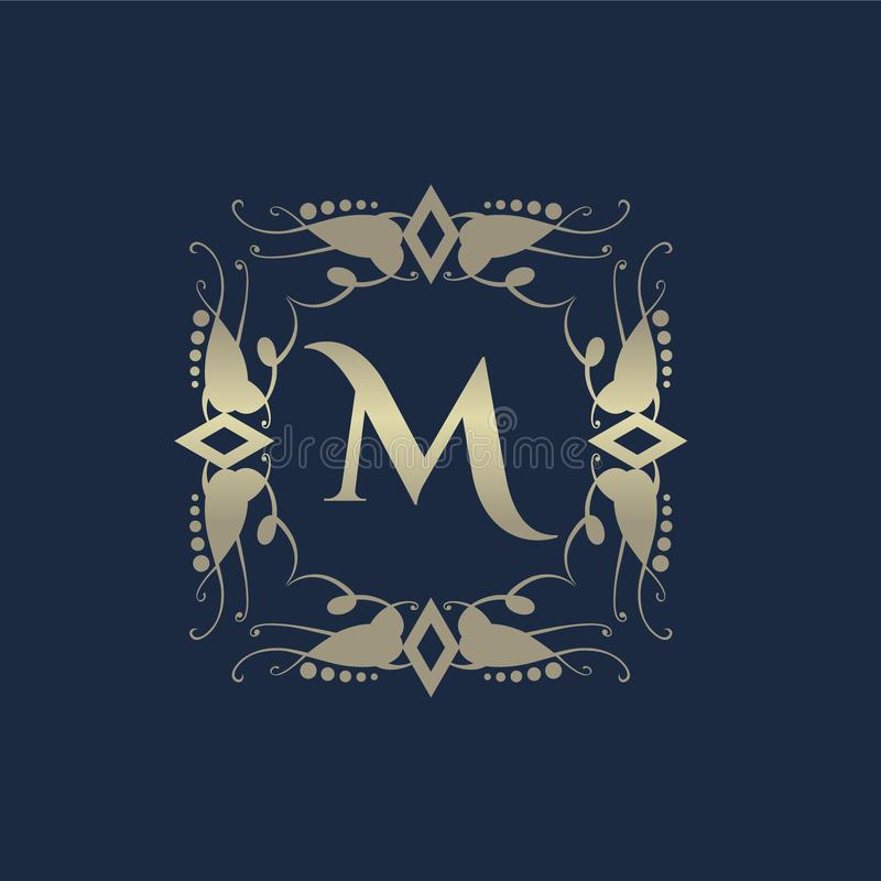 Luxuslogo Elegante Dekorelemente des kalligraphischen Musters Weinleseverzierung lizenzfreie abbildung