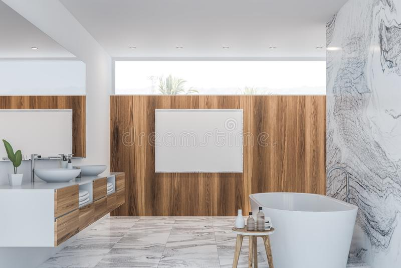 Luxusmarmorbadezimmer Innen mit Plakat lizenzfreie abbildung