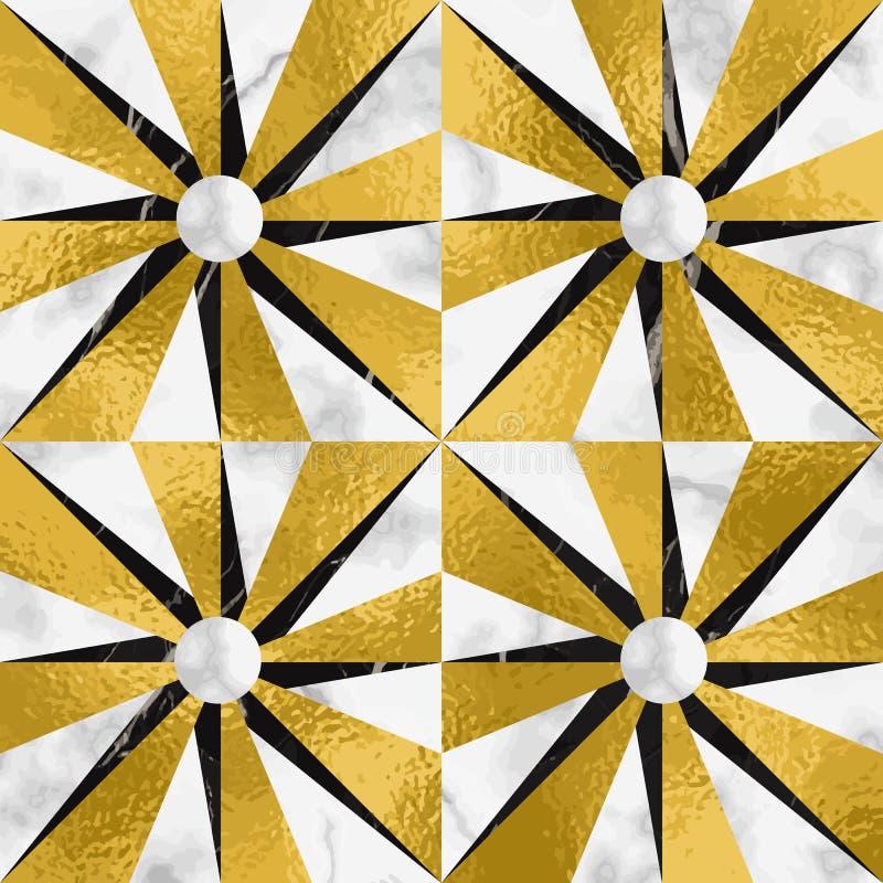 Luxusmarmormosaik-Stern mit Goldfolien-nahtlosem Muster vektor abbildung