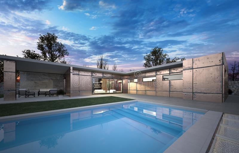 Luxusmodernes ein großes Haus mit L Form und Schwimmenpool stockbilder