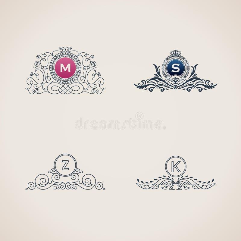 Luxusmonogrammsatz der kalligraphischen Flourishes Linie Rahmenschablonenlogo für elegantes Emblem lizenzfreie abbildung
