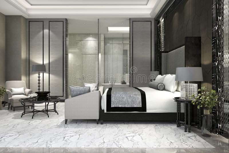 Luxusreihenschlafzimmer der Wiedergabe 3d im Hotel nahe Glasbadezimmer lizenzfreie abbildung