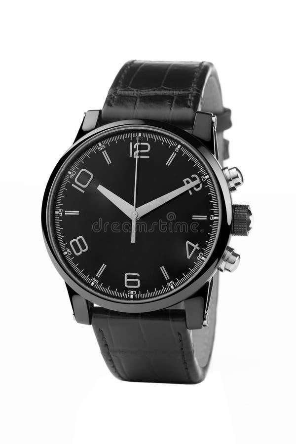Luxusuhr, schwarzes Leder und Silber lizenzfreie stockbilder