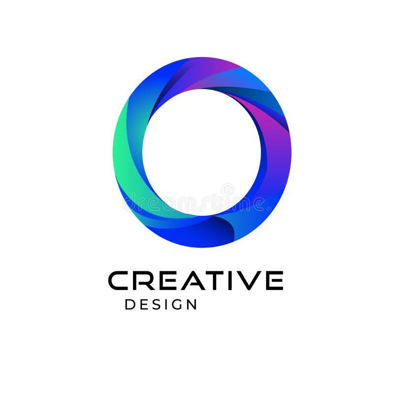 Luxusvektorfirmenzeichen mit Visitenkarteschablone Erstklassiges Logo des Buchstaben O mit goldenem und silbernem Entwurf Elegant lizenzfreie abbildung