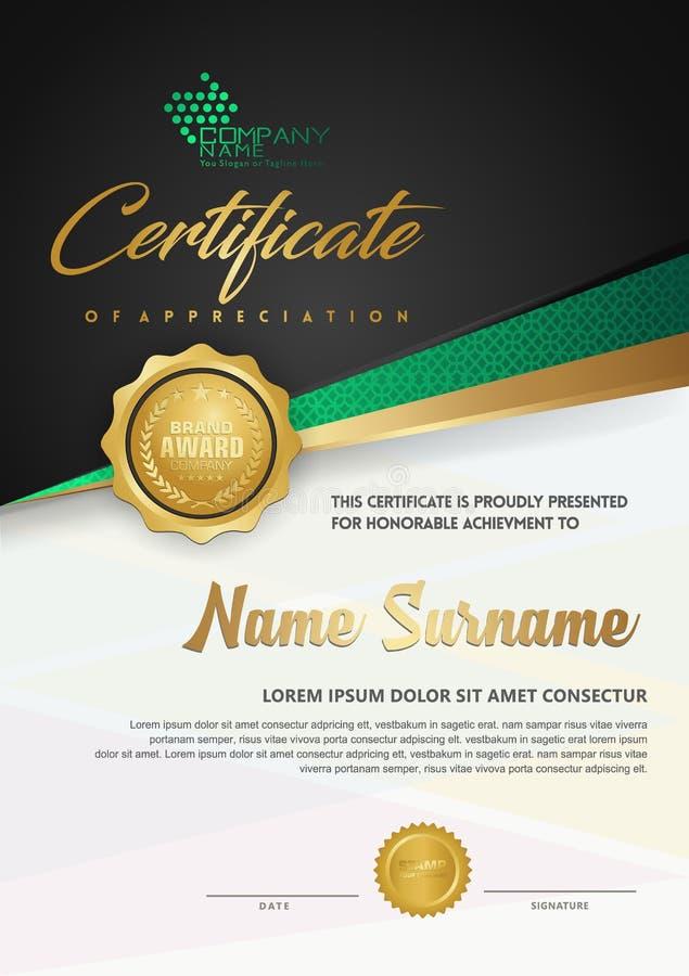 Luxuszertifikatschablone des erstklassigen Diploms mit futuristischem und elegantem Musterhintergrund lizenzfreie abbildung