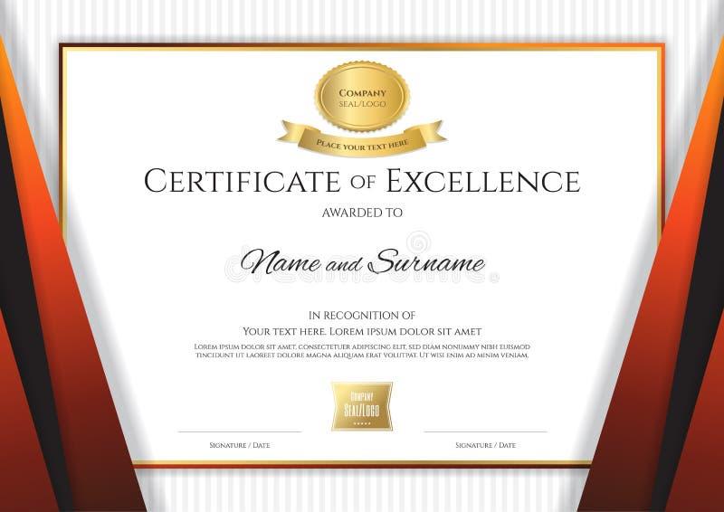 Luxuszertifikatschablone mit elegantem goldenem Grenzrahmen stock abbildung