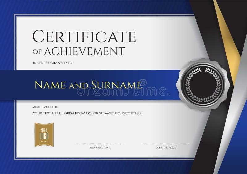Luxuszertifikatschablone mit elegantem goldenem Grenzrahmen, Di lizenzfreie abbildung