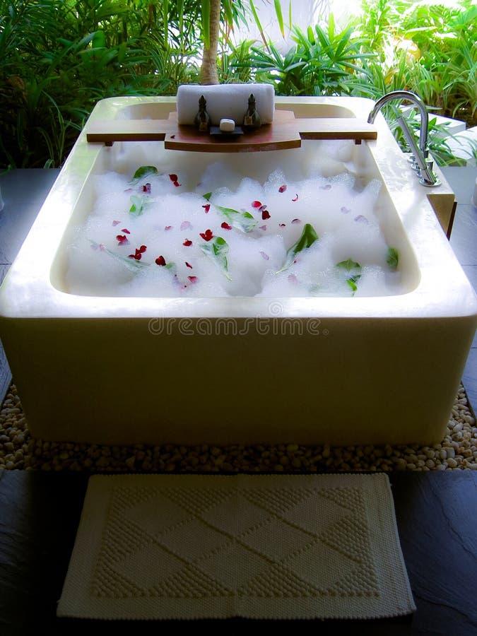 Luxuxbad mit Schaumgummi lizenzfreies stockbild