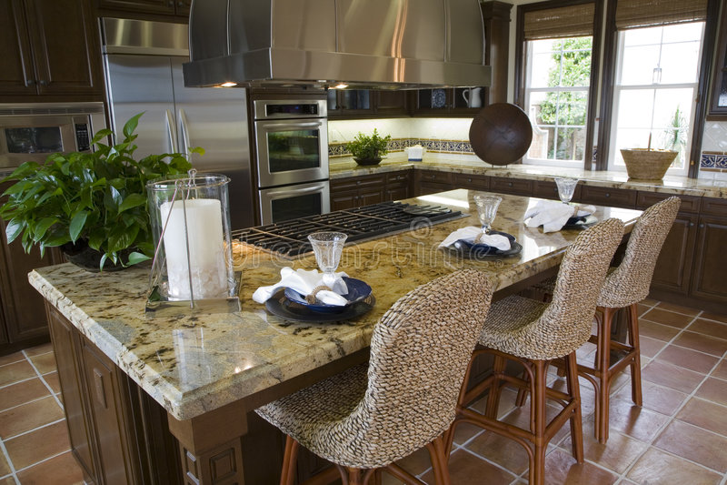 Luxuxhauptküche. stockbilder