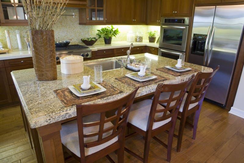 Luxuxhauptküche. lizenzfreies stockbild