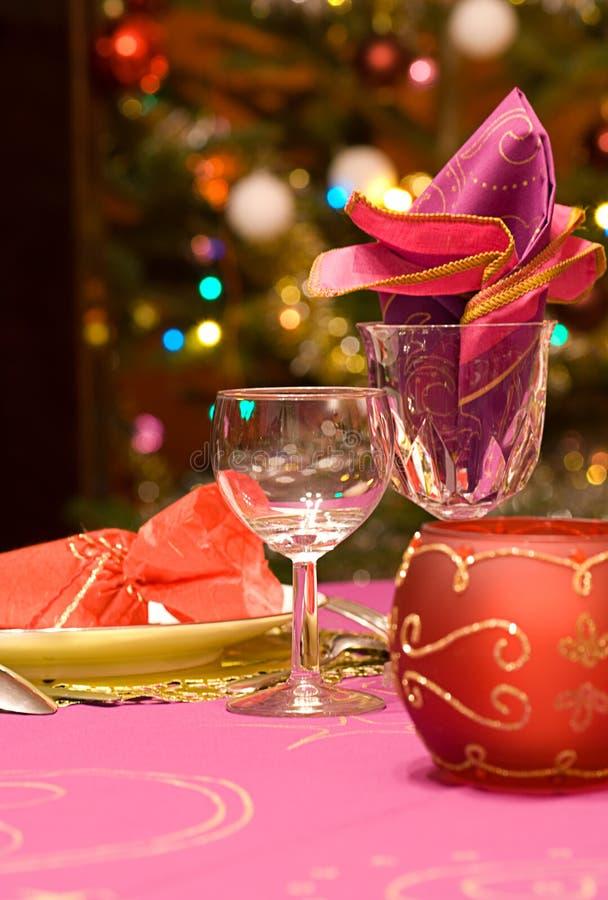 Luxuxtabellenset eines Abendessens stockfoto