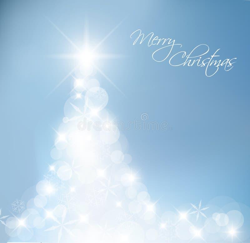 Luz - árvore de Natal abstrata azul ilustração do vetor