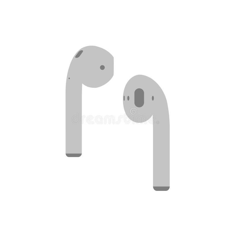 Luz - ícone liso dos fones de ouvido sem fio cinzentos da música de Airpods para apps e Web site no fundo branco ilustração stock