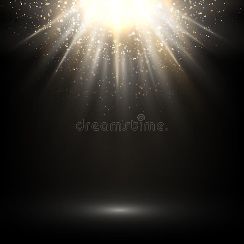 Luz abstracta del vector El brillar intensamente brillante en fondo oscuro stock de ilustración