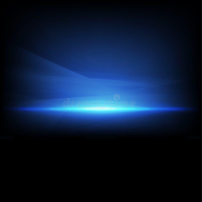 Luz abstrata da faísca e do fluxo - isolado azul no fundo, no vetor & na ilustração pretos ilustração stock
