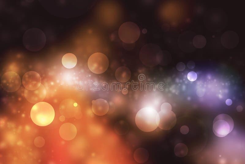 Luz abstrata de Bokeh no fundo escuro foto de stock