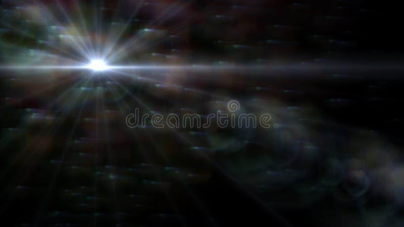 Luz abstrata do alargamento da lente sobre o fundo preto ilustração royalty free