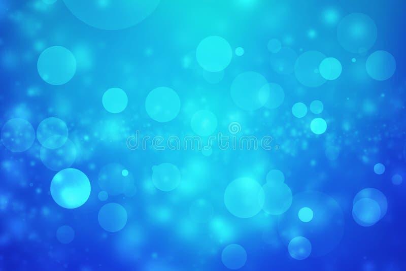 Luz abstrata do bokeh no fundo azul foto de stock