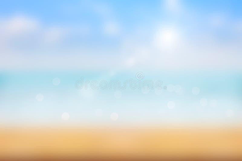 Luz abstrata do borrão no fundo do mar no verão imagens de stock royalty free