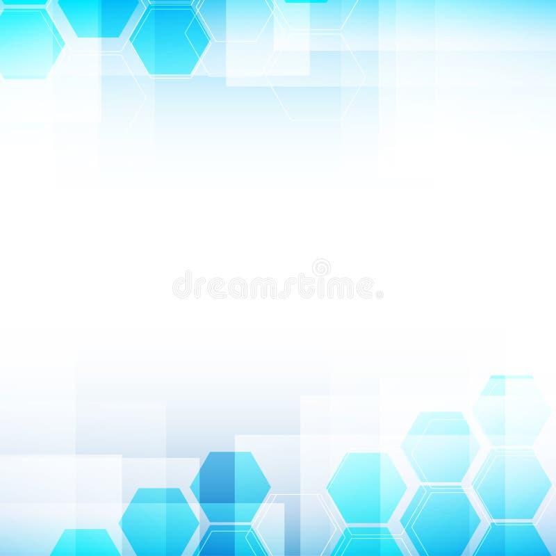 Luz abstrata do fundo - azul e formas do hexágono ilustração stock
