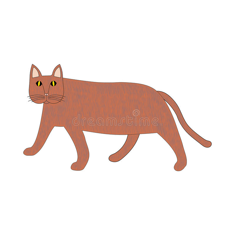 Luz abstrata do gato - passeio marrom isolado lateralmente no branco ilustração do vetor