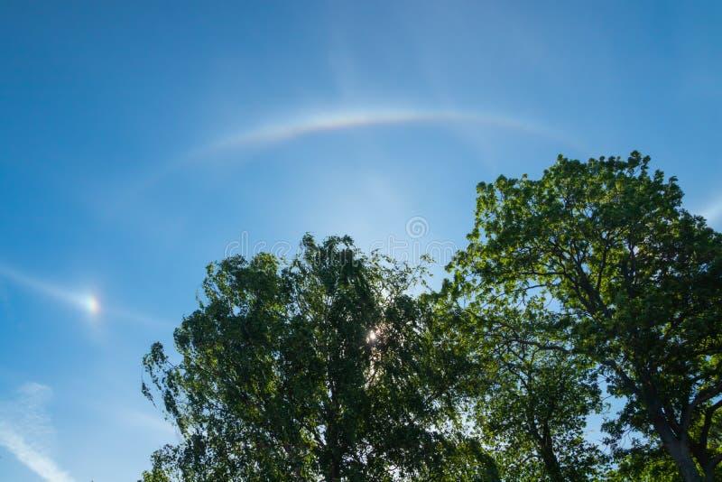 Luz agradable del halo con el sol en la mañana del verano en Naantali, Finlandia imagenes de archivo